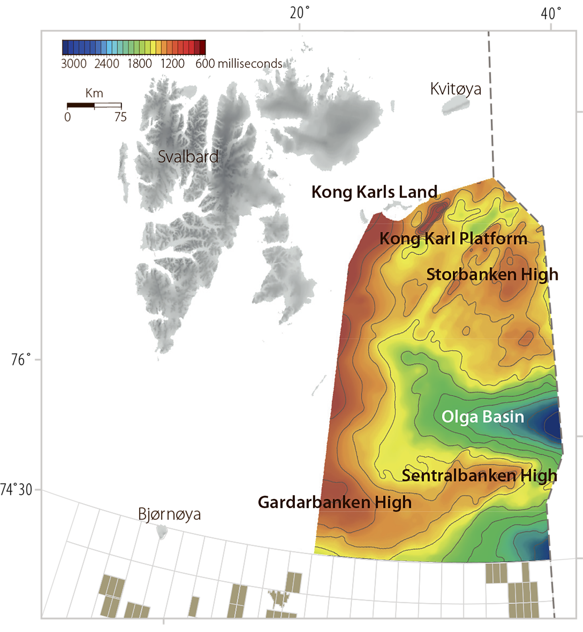 Figure 1.8 Large structures and the extent of the mapped area in Barents Sea North (time contour map for the top of the Permian).