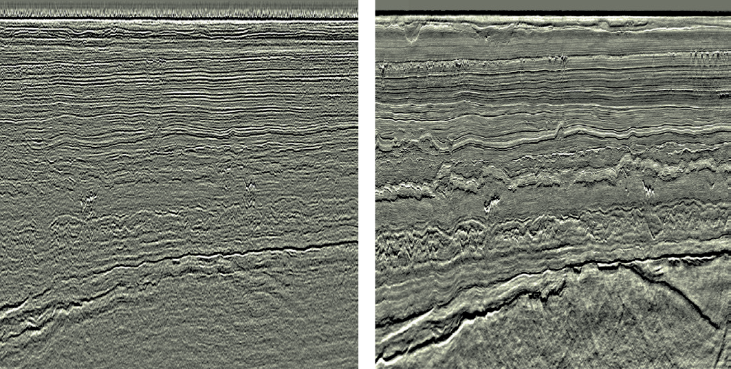 Figure 6.5 An example of the improvement in seismic data quality between 2007 (left) and 2013 (right). From the Edvard Grieg field. Images: WesternGeco