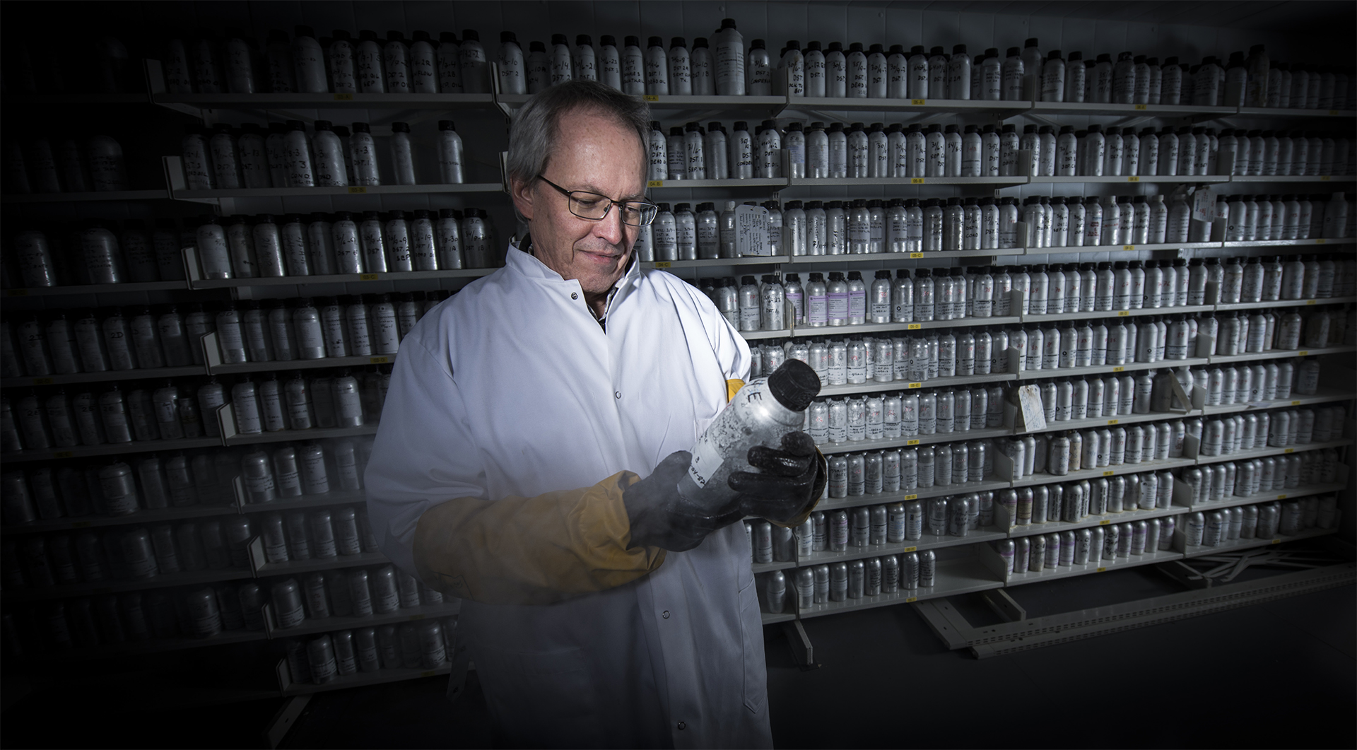 Robert W Williams in the refrigerated store which contains more than 1 000 oil samples.