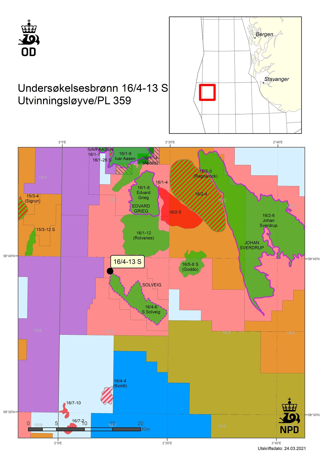 Map showing the location of well 16/4-13 S