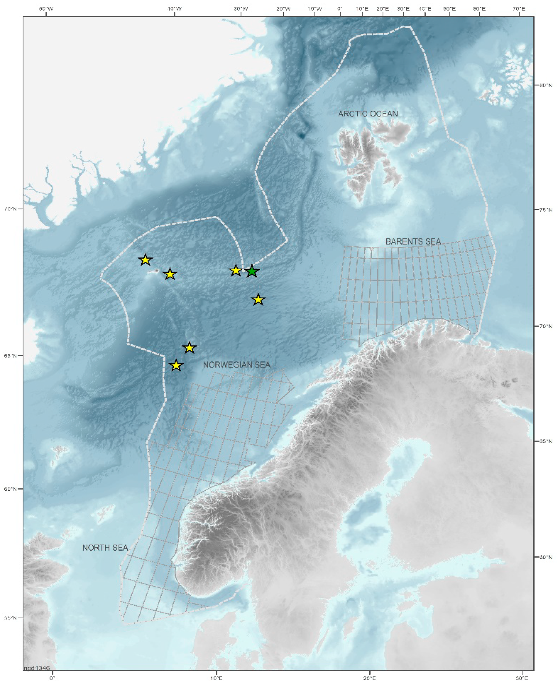 Figure 4-5 Map of the Norwegian Continental Shelf. Areas where the NPD has collected data and mineral samples are marked with stars.