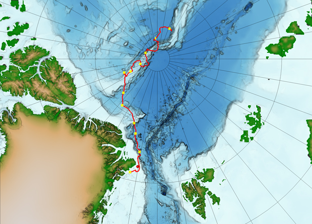 Map of the central Arctic Ocean with the expedition route in red. The first day of each month is marked with yellow points.