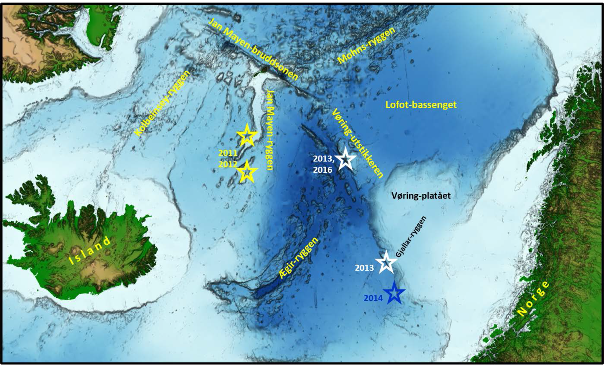 Maps showing the localities of the Norwegian Petroleum Directorate's sampling of solid rock on the seabed.